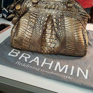Brahmin, hand bag with flower fob